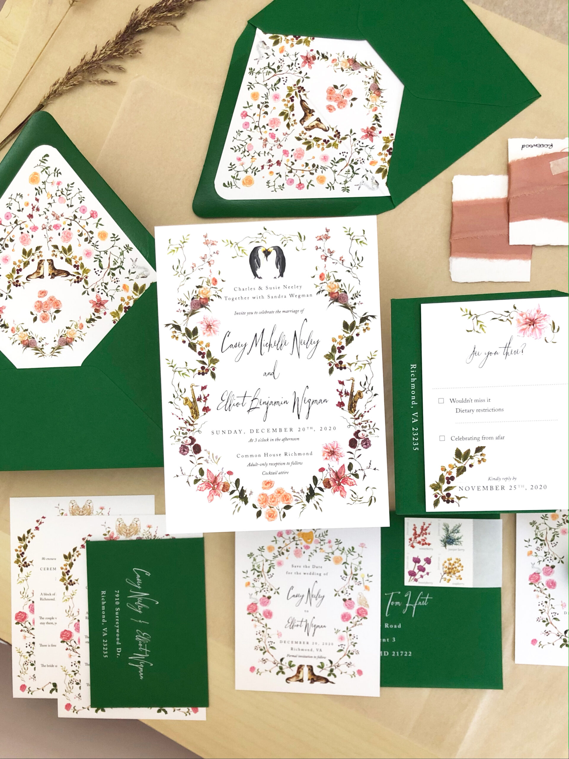 Casey & Elliot winter wedding stationery green envelope