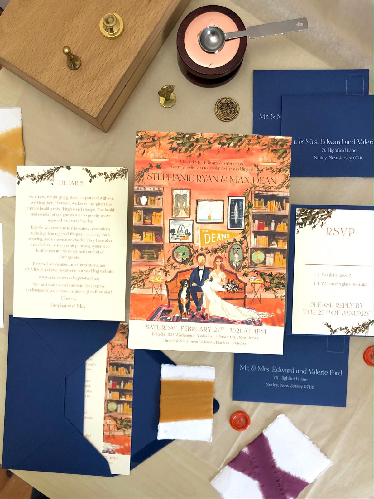 Library inspired wedding invitation