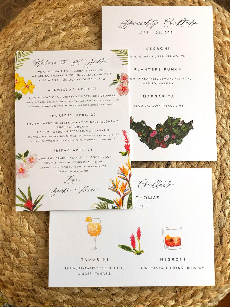 wedding detail cards, cocktails sign