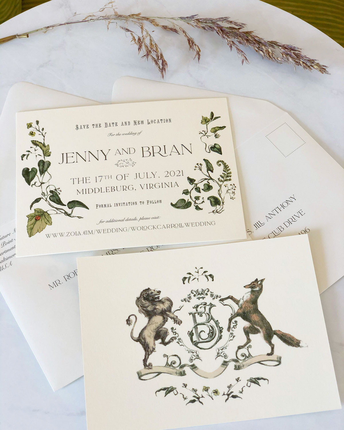 jenny & brian classic save the date greenery jolly edition
