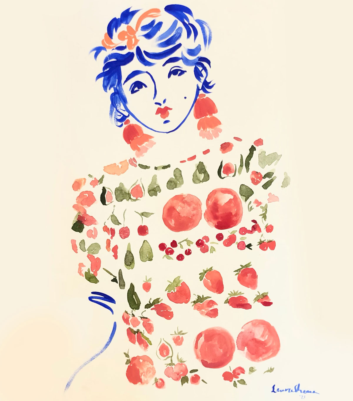 loose personality fruity dress illustration