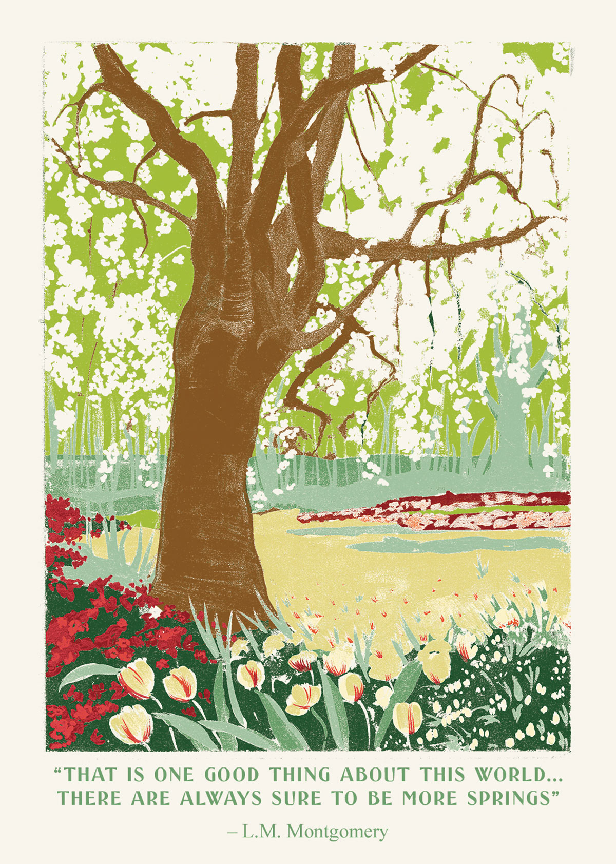 spring card wood-block jolly edition