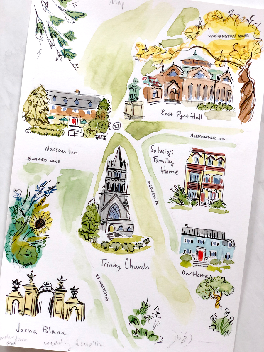 original illustrated wedding map