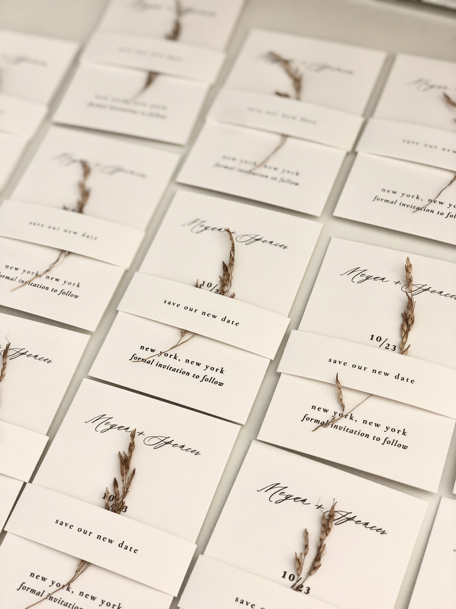 Letterpress save the dates, belly band, wheat - New York