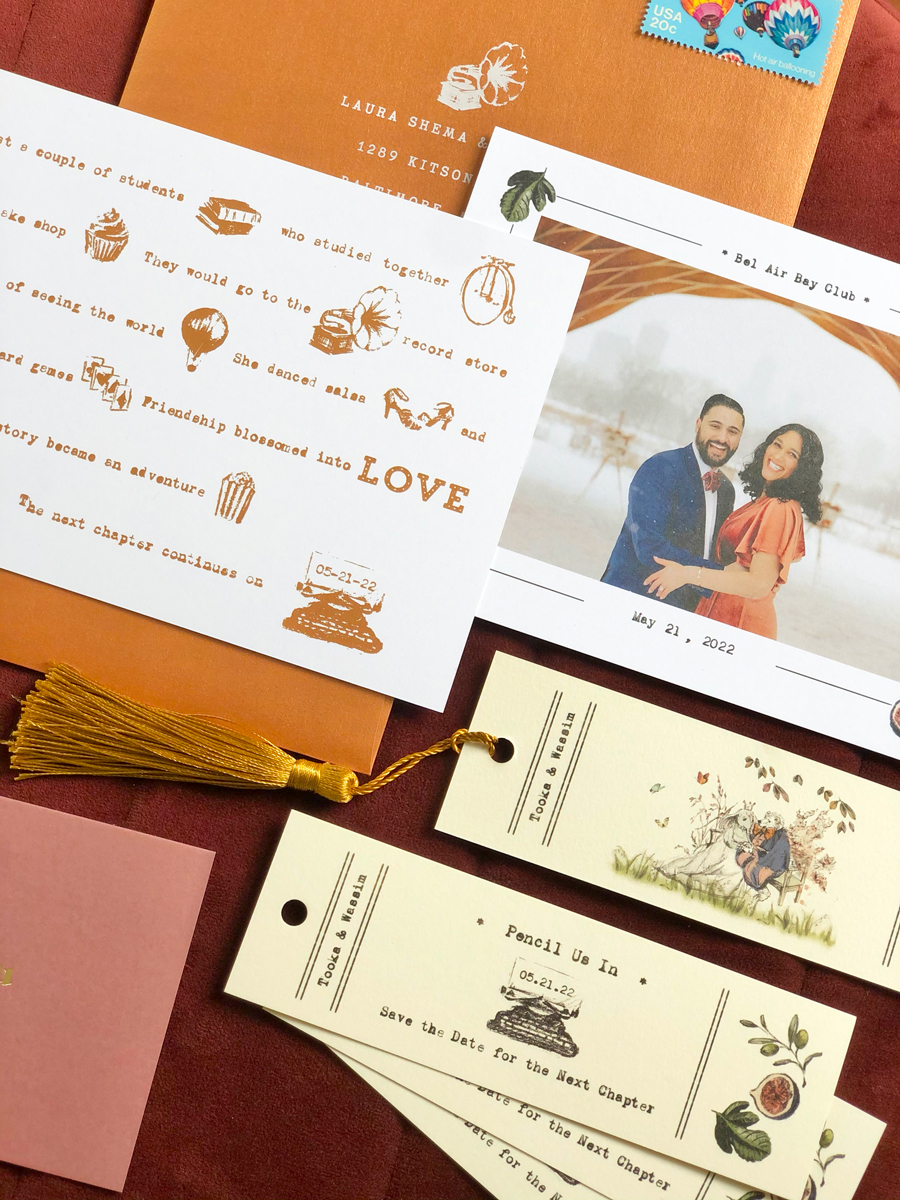 bookmark save the dates, copper, madlibs save the date