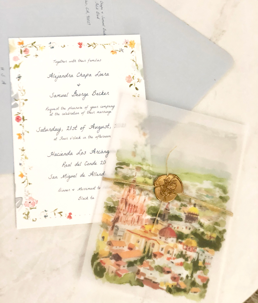San Miguel wedding invite, vellum overlay, wax seal