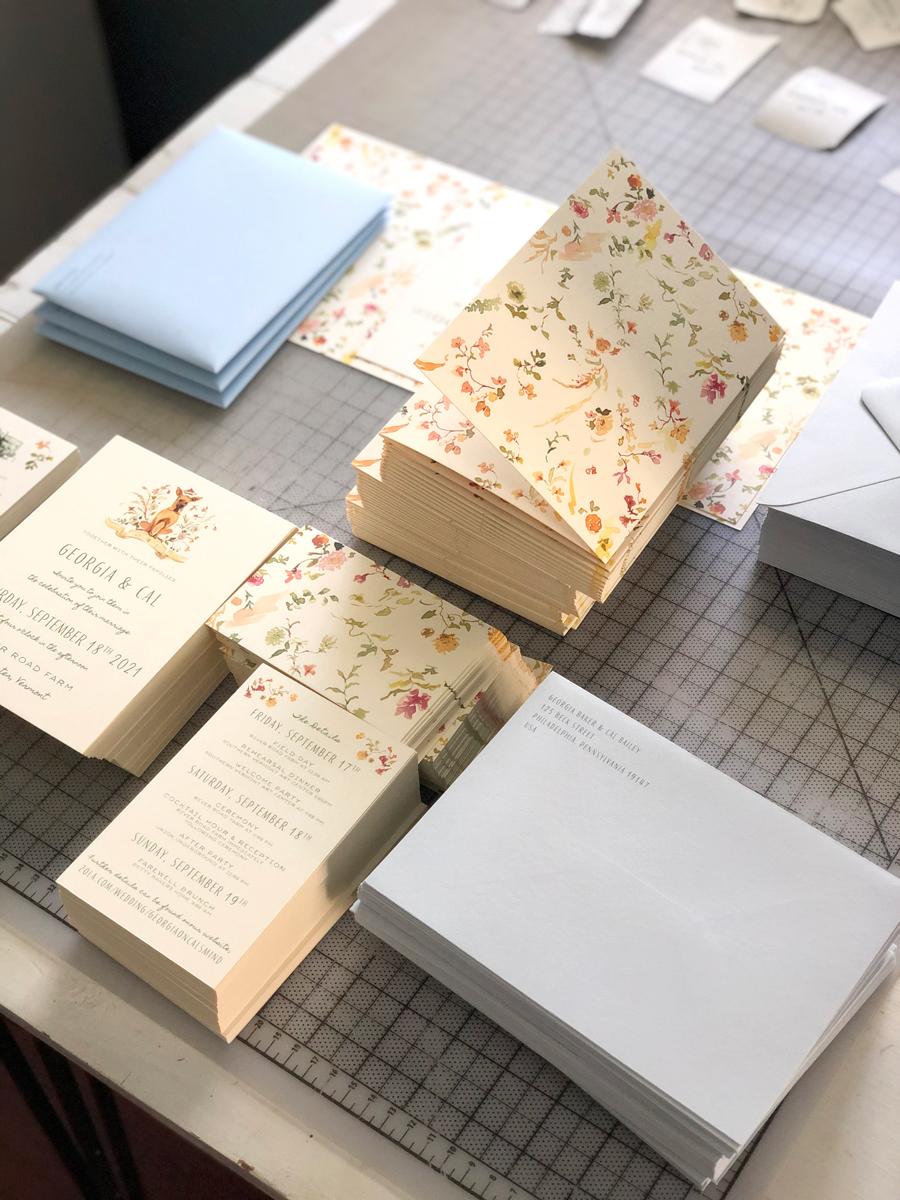 mauve and blue wedding invitations